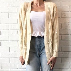 Vintage 80s embellished wool angora cardigan